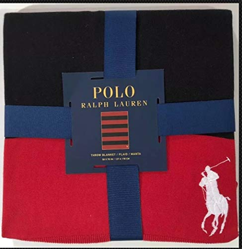 POLO BY RALPH LAUREN Men's RED/Black Striped Ribbed Cotton Knit Throw Blanket