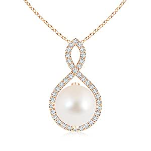 Angara Floating Freshwater Cultured Pearl Pendant with Diamond Loop