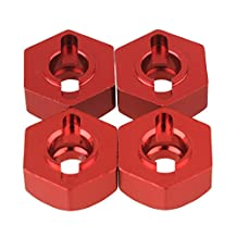 BQLZR 12mm Red 122042 Aluminum Alloy Wheel Hub Hex Upgrade Parts for RC 1:10 Model Car Pack of 4