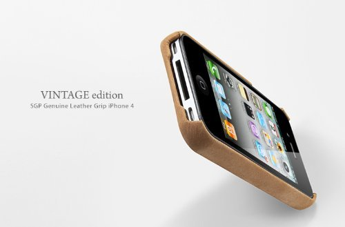 SGP iPhone 4S Leather Case Genuine Leather Grip Series [Vintage Brown]