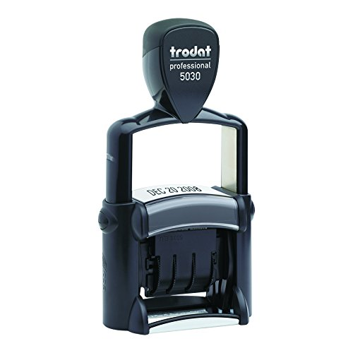Trodat Professional Stamp, Dater, Self-Inking, Impression Size: 1 5/8 x 3/8 Inches, Black (T5030) (Inking Heavy Duty Self Stamp)