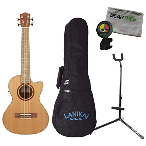 Lanikai CDST-CET Cedar Solid Top Cutaway Acoustic Electric Tenor Ukulele w/Bag,