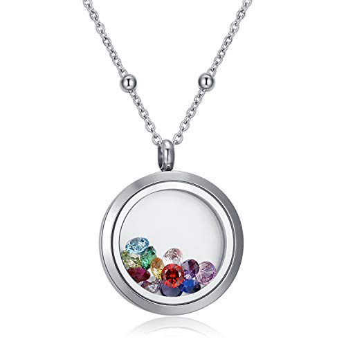 CF100 12 AAAAA+ Zirconia Birthstones Round 316L Stainless Steel Living Locket Floating Memory Charm Locket Necklace with 24~26