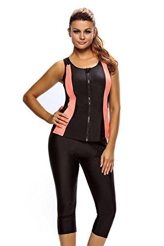 New contrasto Orange Accent nero con cerniera 2PCS Tankini set bikini Swimsuit Swimwear estivo taglia UK 16EU 44