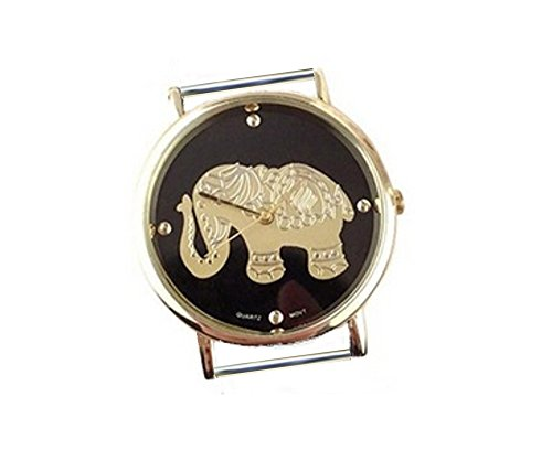 TVT Gold Elephant On Black Watch Face for Your Interchangeable Beaded Bands AX-SUNF-ELE
