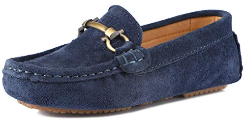 SKOEX Boy's Suede Loafers Slip On Boat Shoes US Size 11.5 Blue(Suede) ()