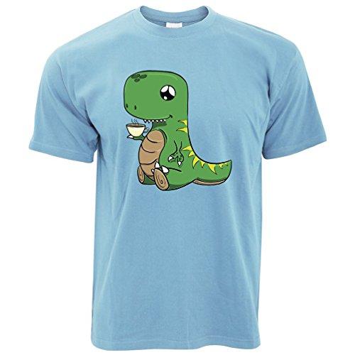 Bonjour Hommes Du Sky shirt De Tim Blue Dinosaur Thé Pour Mignon Dessiné Boire Café Ted T La À And Main UfqIfTP