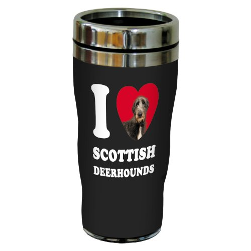 Tree-Free Greetings SG25115 I Heart Scottish Deerhounds Sip 'N Go Stainless Lined Travel Tumbler, 16-Ounce