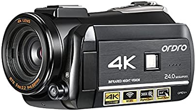 4K Videocámara, Ordro 4K Ultra HD cámara de vídeo digital/IR visión nocturna videocámara 24MP WIFI 60FPS por el emperador de Gadgets