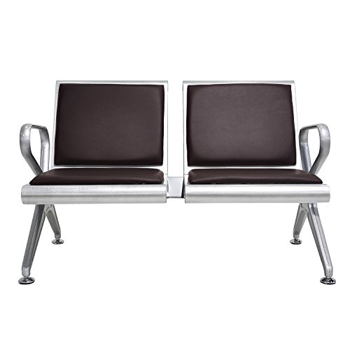 walsport 2-Seat Waiting Chair PU Leather Airport Executive Side Reception Chair Waiting Room Garden Salon Barber Bank Hospital Bench, Brown ()