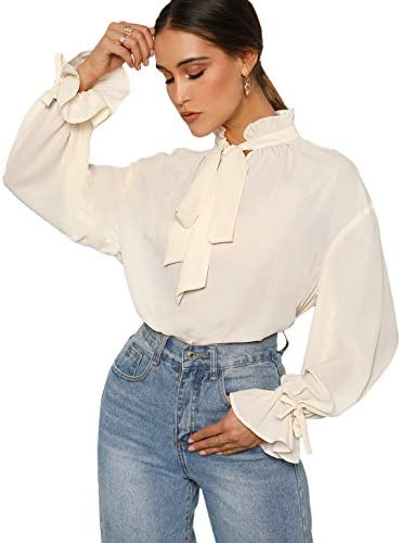 Romwe Women's Elegant Vintage Bow Tie Ruffle Mock Neck Lantern Sleeve Working Blouse Tops Shirt