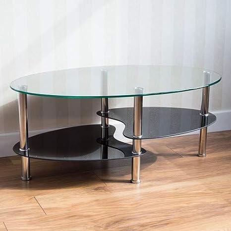 Noir Home Discount ValuFurniture Table Basse Cara en Verre avec Pieds chrom/és