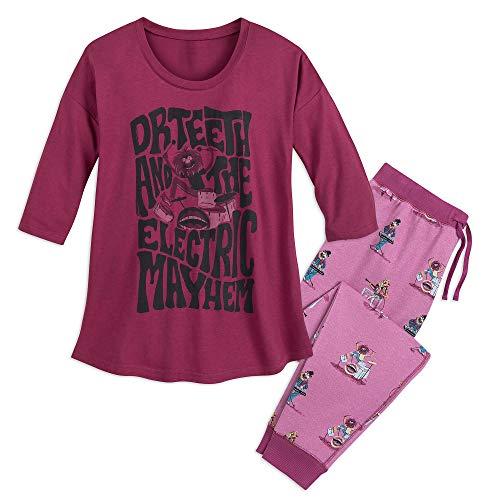 Disney Womens Glitter Jogger Pajama Set, Maroon Muppets, Size XL -