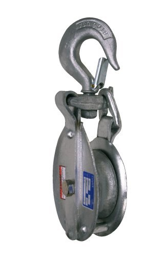 Campbell 3073V 6 Single Steel Drop Link Snatch Block with Stiff Swivel V Latch Hook, 2400 lbs Load Capacity, 3 Sheave by Apex Tool Group