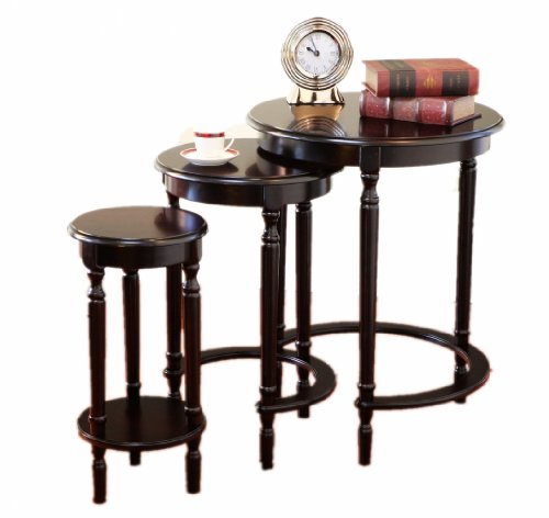 Three Nesting Tables Set - Frenchi Furniture Set of 3 Round Nesting Tables in Cherry Finish