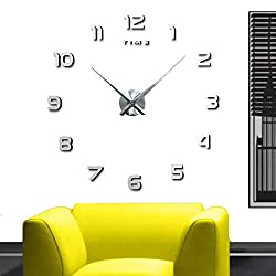DIY Wall Clock KIT - The Perfect Treat Yourself with Adhesive Frameless Clock Kit - Modern Decorations - Upgrade Any Home in a Short Time -Do It Yourself Clock (Silver)