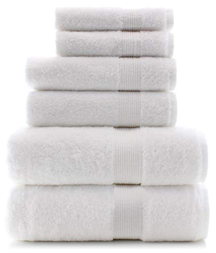 Premium Turkish Cotton Wide Lined Border Eco-Friendly and Long Stable Towel Set of 6 (White)