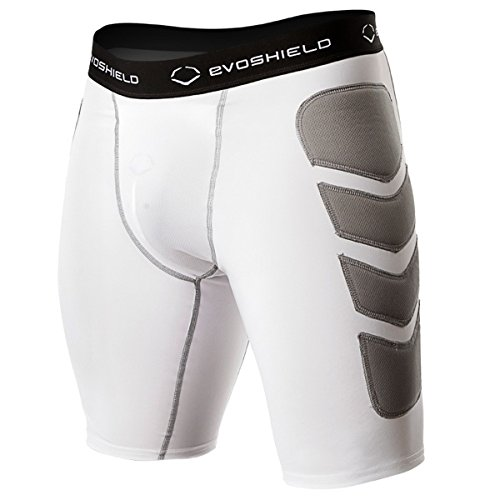 EvoShield Men's Baseball Sliding Short (w/ Cup), White, large by EvoShield