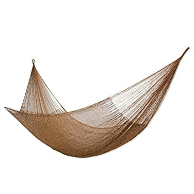 NOVICA Hand Woven Portable Outdoor 2 Person Nylon Mayan Hammock, Glowing Bronze' (Double) - Size: 7.2 ft. W x 12.8' H Authentic: an original NOVICA fair trade product in association with National Geographic. Certified: comes with an official NOVICA Story Card certifying quality & authenticity. - patio-furniture, patio, hammocks - 417HqFKy76L. SS400  -