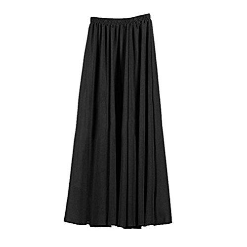 Oudan Jupe Femme en Mousseline de Soie Double Couches Haute Taille Jupe Plisse Longue Taille lastique Couleurs Varies Jupe Patineuse Noir