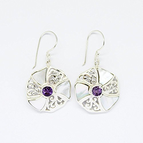 - Beautiful handmade 925 sterling silver dangle drop amethyst earrings with flawless 5 * 5 mm amethyst stone with natural white shell, mother of shell earring, and 41mm drop length