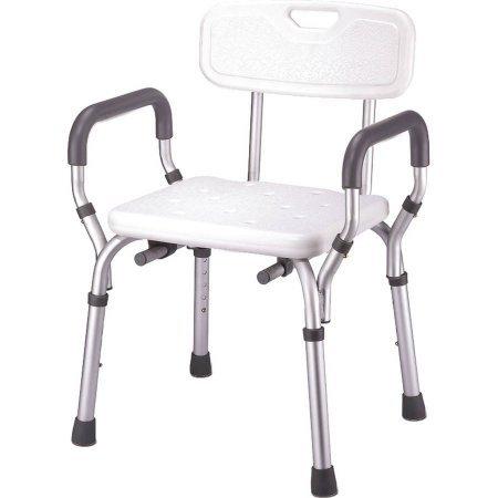 Adjustable Molded Shower Bench with Arms & Back (Tub Mount Sliding Swivel)