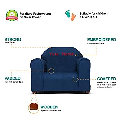 Keet Little-Furniture Personalized Kids Children's chair Mini Navy Microsuede: Kitchen & Dining