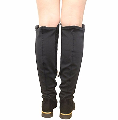 Gold Shoes STYLES Over 3 SAUTE Stretchted Zip Black Lycra High Ladies New Size Trim 8 Boots Stretched Suede Thigh Knee Womens Heel wIOOxzpq