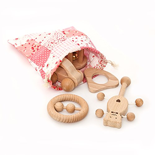 Amyster Puzzle Toys Intellectual Development of Children Montessori Toys Set Nursing Wooden Teether Rattles Baby Fun and Interesting Toy