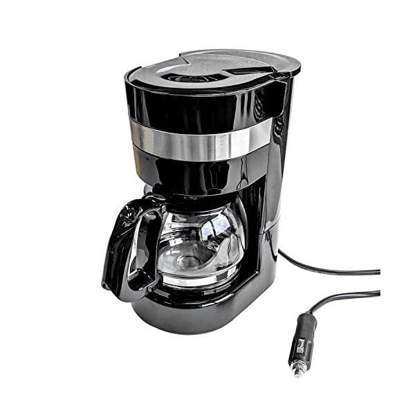 417HruoVVIL Kaffeemaschine 24V, 300W, 0.65L, Glaskanne, 6 Tassen, Anschluss Zigarettenanzünder - Reisekaffeemaschine für Lkw, Boot…
