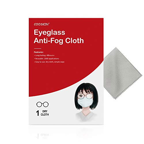 COOSKIN Anti-Fog Cloth, Reusable 1000 Times and Long-Lasting for 48h, Odorless Anti-Fog Dry Cloth,Fog Stopper for Wearing face mask,for Eyeglasses, Goggles, Helmets, Visors and Camera Lens Surfaces