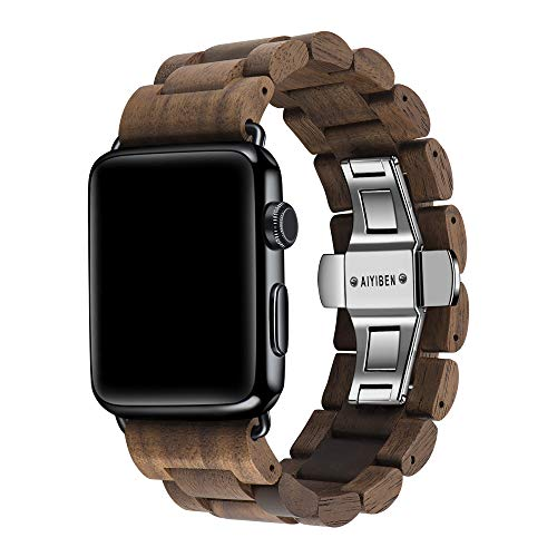 AIYIBEN Watch Band 42mm iWatch Band Bracelet Strap Stainless Steel Clap with Adjustable Links Compatible for iWatch Series 4/3/2/1 Sport Edition (Walnut Wood-42mm)