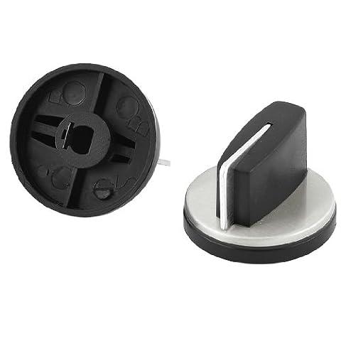 Gas Fuel Stove Control Switch Burner Knob 2PCS Black Silver