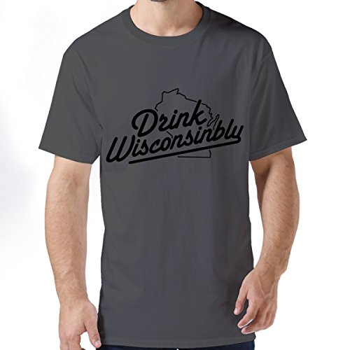 35e9730058f Drink Wisconsinbly In Cute Fonts Deep Heather Man Short-Sleeve Tees L