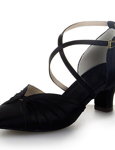 ShangYi Non Customizable Womens Dance Shoes Modern Satin Chunky Heel Black/Brown/Red/Silver Black