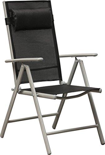IB-Style - 2 Stück Hochlehner Gartenstühle Klappsessel Aluminium / Textilen, schwarz, 7-fach verstellbar