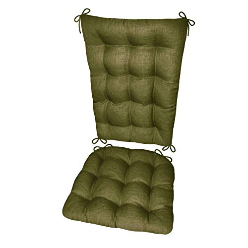 Barnett Products Porch Rocker Cushions - Rave Sage Green - Size Extra-Large - Indoor/Outdoor: Fade Resistant, Mildew Resistant - Latex Foam Filled Seat Pad and Back Rest, Reversible, Machine - Rocker Sage