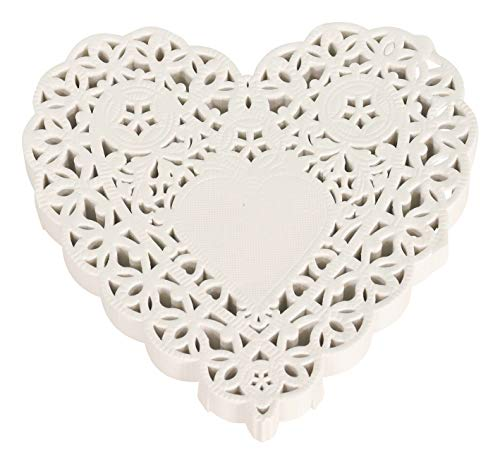 School Smart 85612 Heart Shaped Paper Lace Doilies - 4 inch - Pack of 100 - White ()