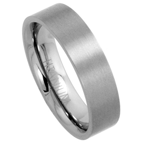Sabrina Silver 6mm Titanium Wedding Band/Thumb Ring Plain Flat Comfort-Fit Brushed 5/16 inch, size 8 1/2