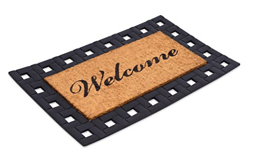 - BirdRock Home Classic Welcome Brush Coir Doormat with Black Rubber Scroll Border, 18 x 30 Inch - Classic Design