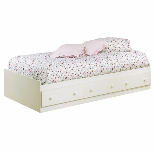 Summer Breeze Collection Twin Bed with Storage - Platform Bed with 3 Drawers - White Wash by South Shore (Collection White Finish Twin Bed)