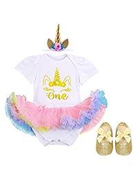 Baby Girl Newborn It's My 1st Birthday Outfits Romper+Shoes+Headband Tutu Dress