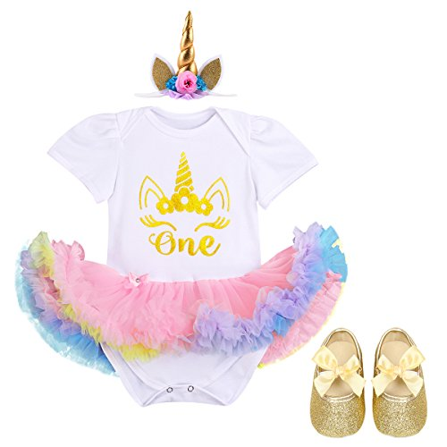 IBTOM CASTLE Little Girl Newborn It's My 1st Birthday Cake Smash Outfits Romper+Shoes+Headband Tutu Baby Princess Dress Set 3pcs White+Gold Unicorn 12-18 Months]()