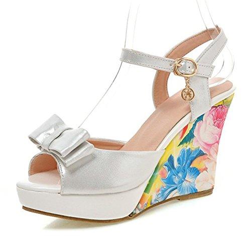 Mofri Womens Elegant Floral Print Bowknot Peep Toe Buckle Ankle Strap Platform Wedge High Heel Sandals  White  6 B M  Us