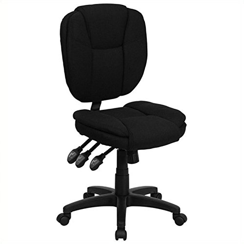Flash Furniture Mid-Back Black Fabric Multifunction Ergonomic Swivel Task Chair by Flash Furniture