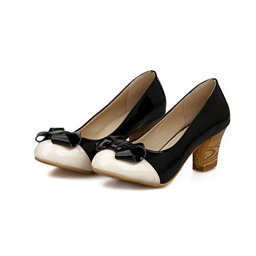Amoonyfashion Donna Pu Assortiti Colori Pull-on Tacco Chiuso Scarpe-tacco-scarpe Nere