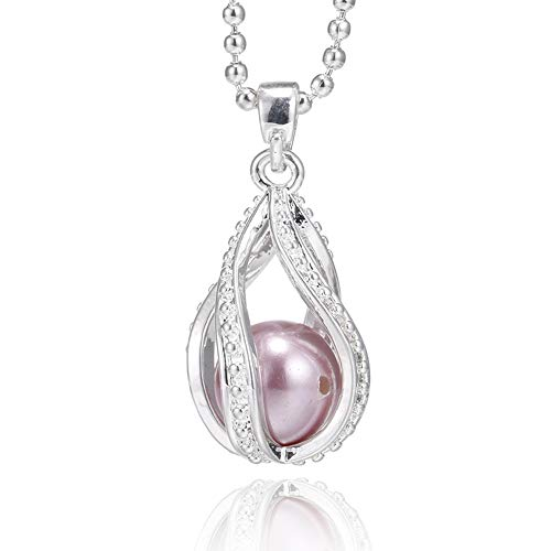 ChengYu Silver Twist Waterdrop Pearl Cage Beads Cage Locket Pendant Necklace Essential Oil Diffuser Locket Necklace, Jewelry for Women, Girls, Fun Gifts (Twist Waterdrop)