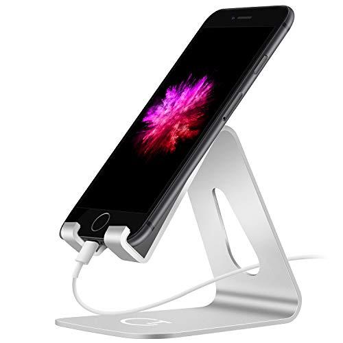 Gritin Soporte Movil, Soporte Movil Mesa Soporte Dock Base Aleacion de Aluminio para Telefono para iPhone X / 8 Plus, iPad Mini, Huawei, Nintendo Switch, Samsung S6 S7 S8- Plata