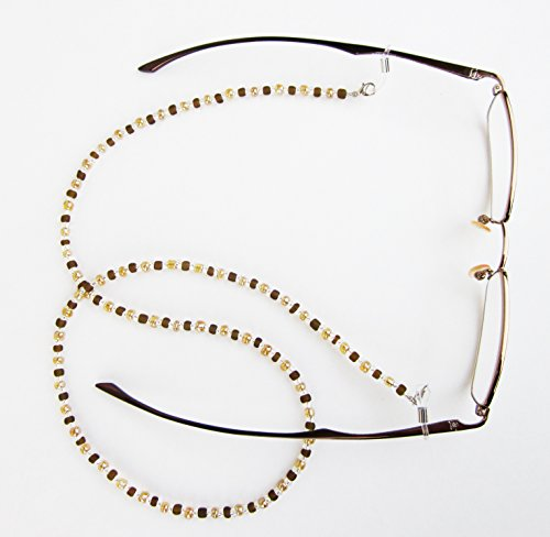 Silk Rose Women's Eyeglasses Beaded Chain and Badge Holder for IDs and Cards, Amber