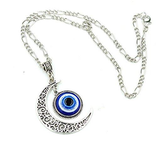 [Elakaka Blue Evil Eye Pendant Alloy Silver Moon Necklace] (Evil Eye Skull Costumes)